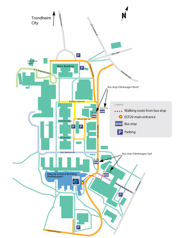 Map over Gloshaugen Campus, NTNU